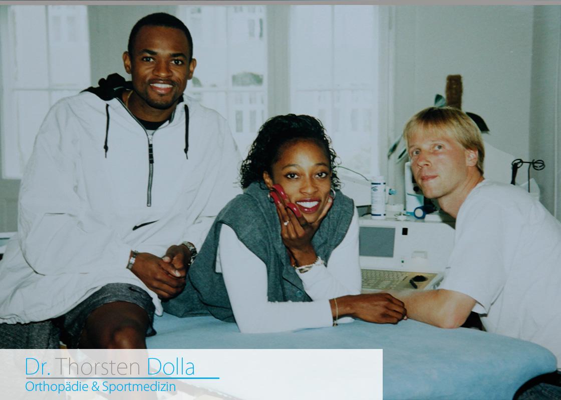 Thorsten Dolla 1996 mit Gail Devers, der Olympiasiegerin im Hürdenlauf